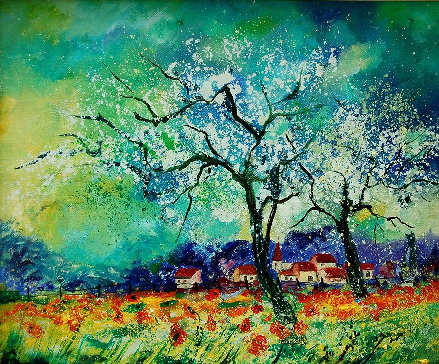 Landscape Painting - Poppies And Appletrees In Blossom by Pol Ledent