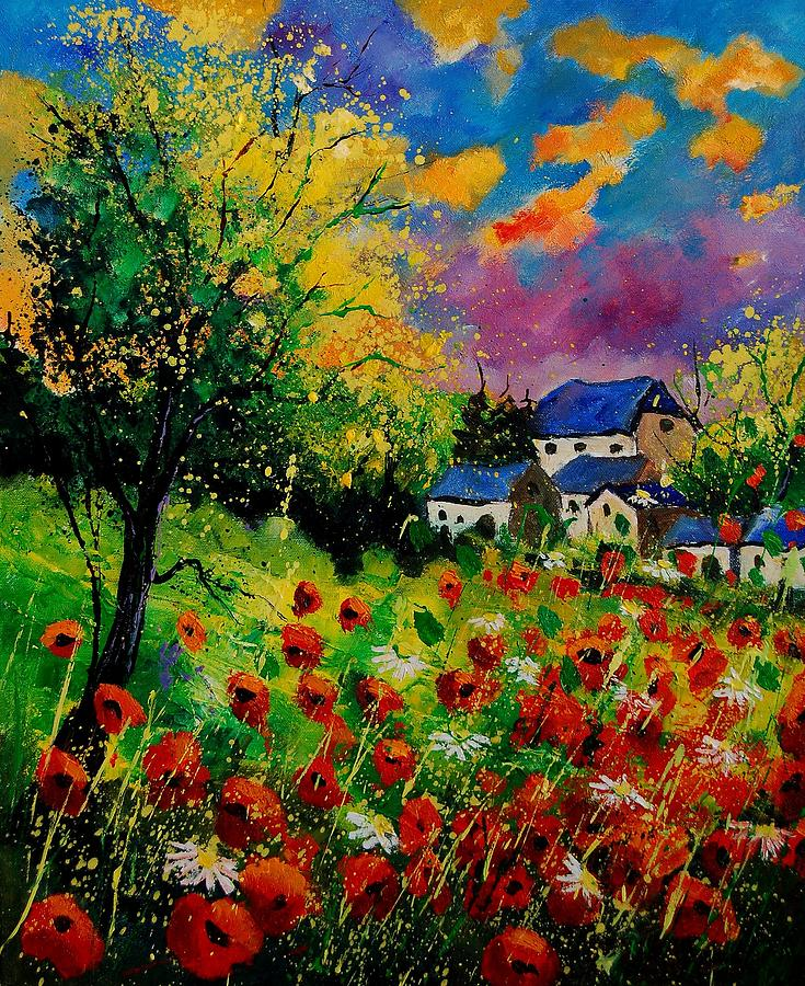 Landscape Painting - Poppies and daisies 560110 by Pol Ledent