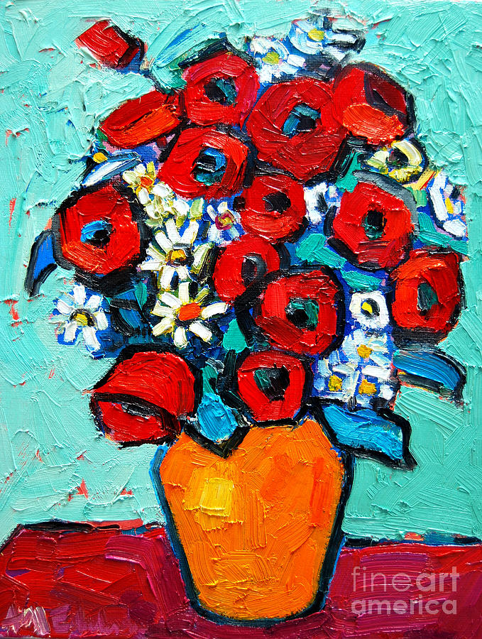 Floral Painting - Poppies And Daisies Bouquet by Ana Maria Edulescu