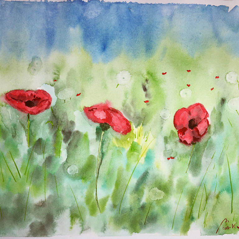 Poppies And Dandelions Painting by Marika Curiale