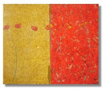 Poppies And Handmade Paper Painting by Eridanus Sellen