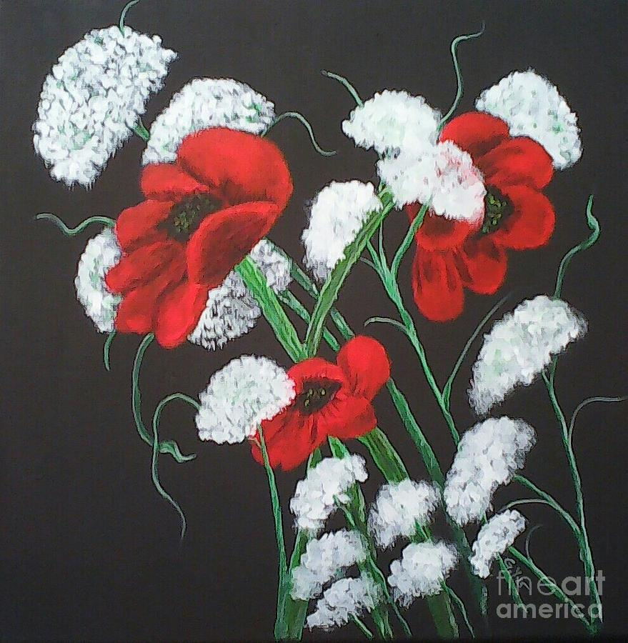 Poppies Painting - Poppies And Lace by Ginny Youngblood