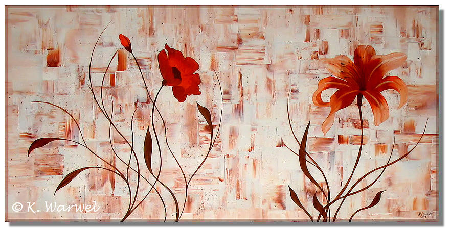 Contemporary Painting - Poppies And Lilies by Klaudia Warwel