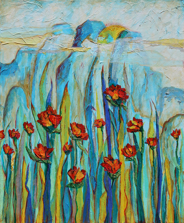 Poppies and Mountains by Joselyn Holcombe
