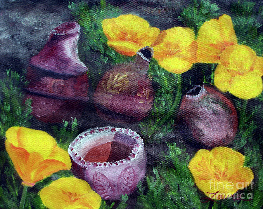 Painting Painting - Poppies And Pottery by Laura Iverson