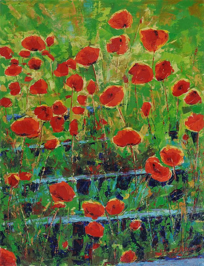 Poppies Painting - Poppies And Traverses 1 by Iliyan Bozhanov