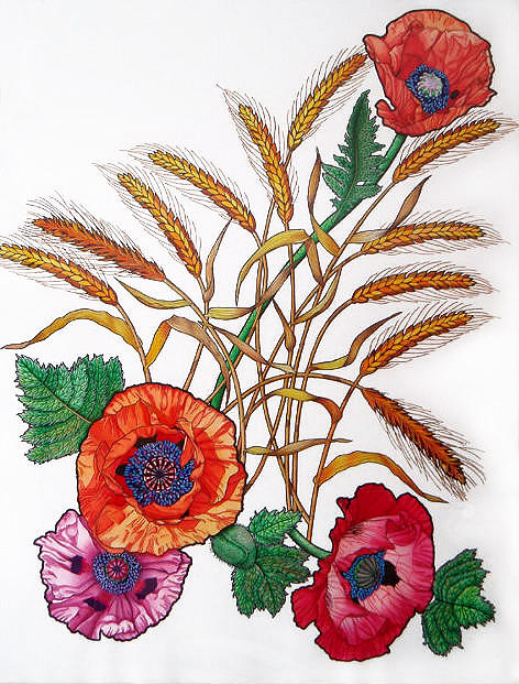 Poppies Painting - Poppies And Wheat by Vlasta Smola