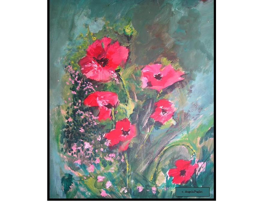 Poppies Painting by Angela Puglisi