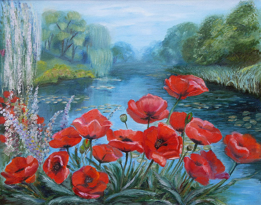 Poppies at peaceful pond painting by elena antakova oil on canvas painting poppies at peaceful pond by elena antakova mightylinksfo