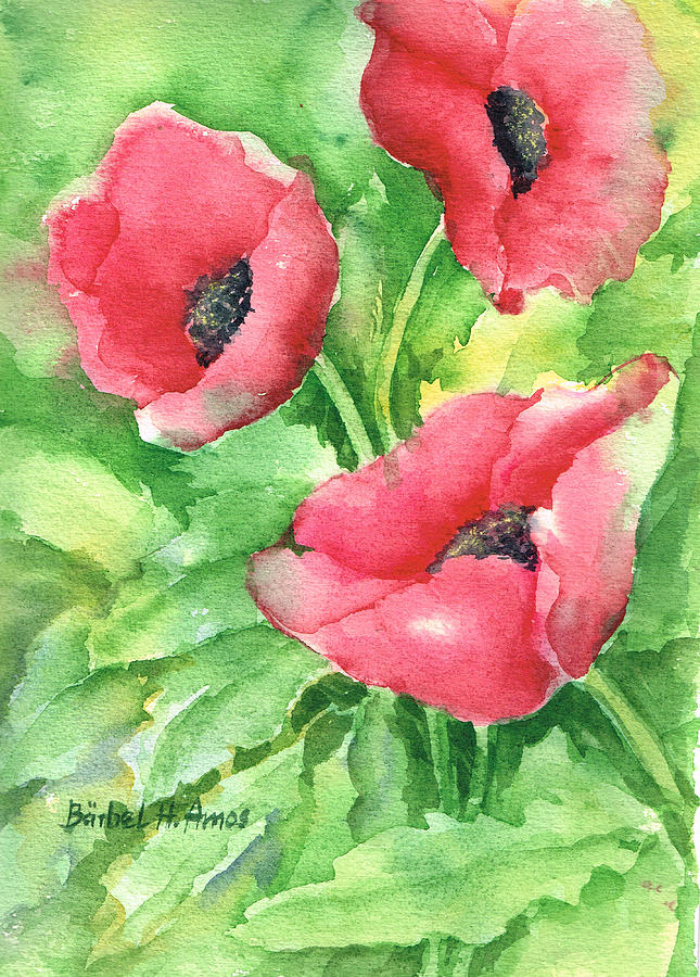Poppies painting by barbel amos for Barbel art