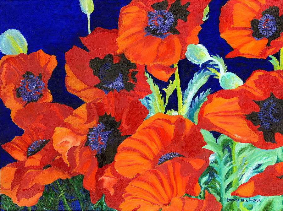Orange Poppies Painting - Poppies by Brenda Beck Fisher