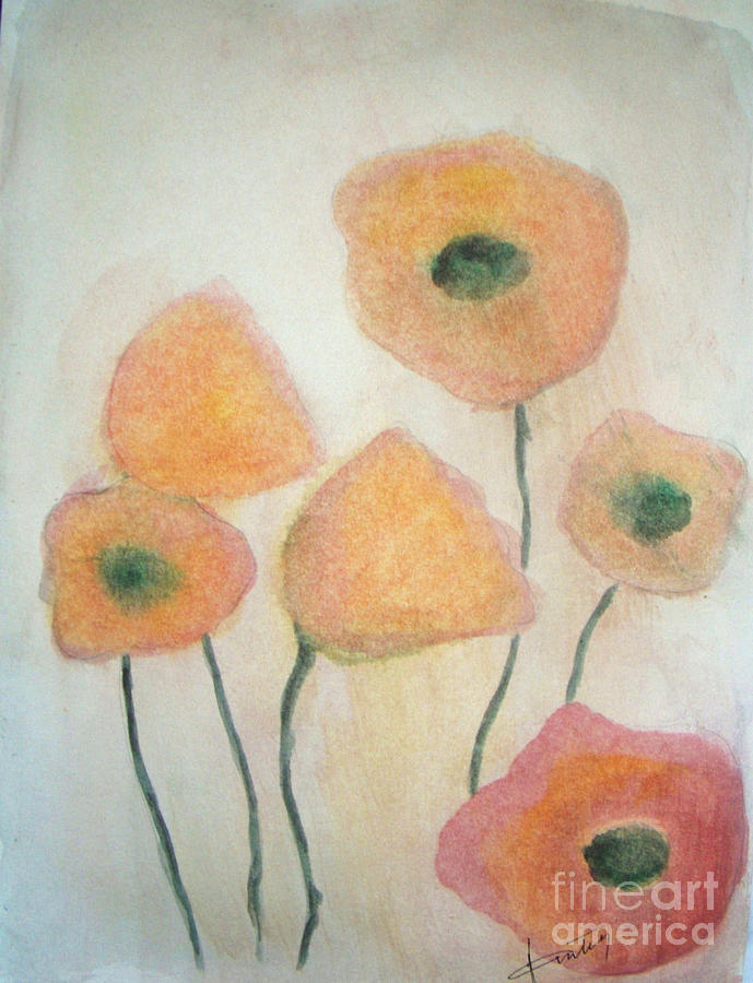 Abstract Painting - California Poppies by Vesna Antic