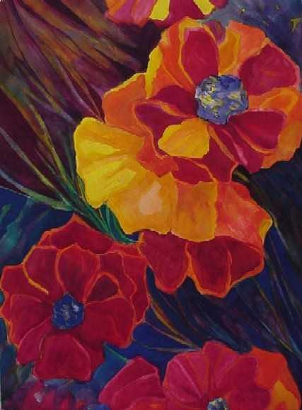 Flowers Painting - Poppies by Carolyn LeGrand