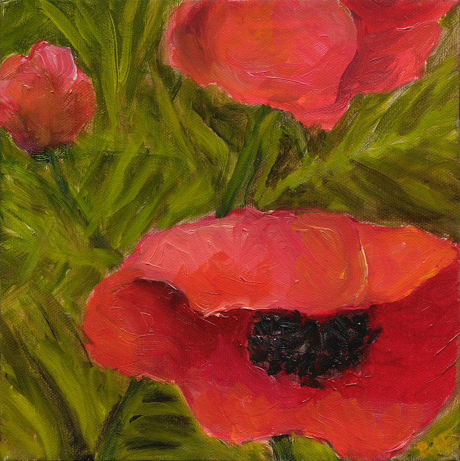 Diptych Painting - Poppies Diptych B by Rita Bentley