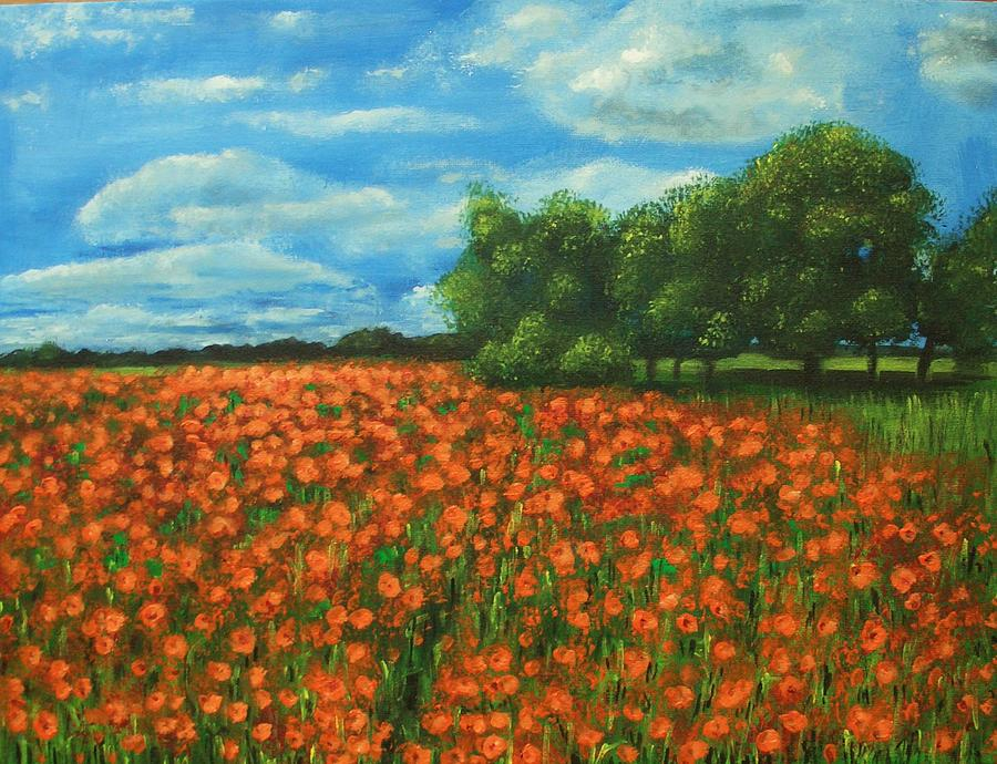 Poppy Painting - Poppies Field Original Painting by Natalja Picugina