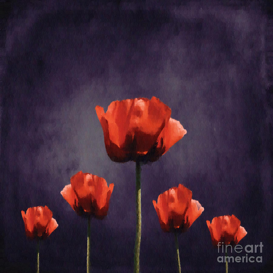 Poppies Digital Art - Poppies Fun 01b by Variance Collections
