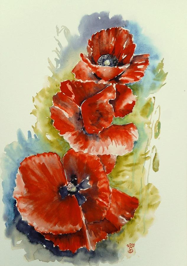 Flower Painting - Poppies by Gizella Selmeczky
