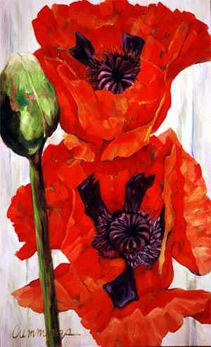 Red Poppies Painting - Poppies II by Betty Cummings