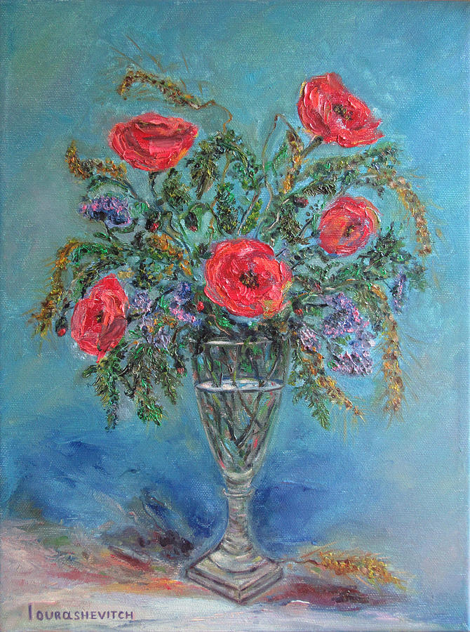Poppies In A Glass Of Water Painting by Katia Iourashevich ...