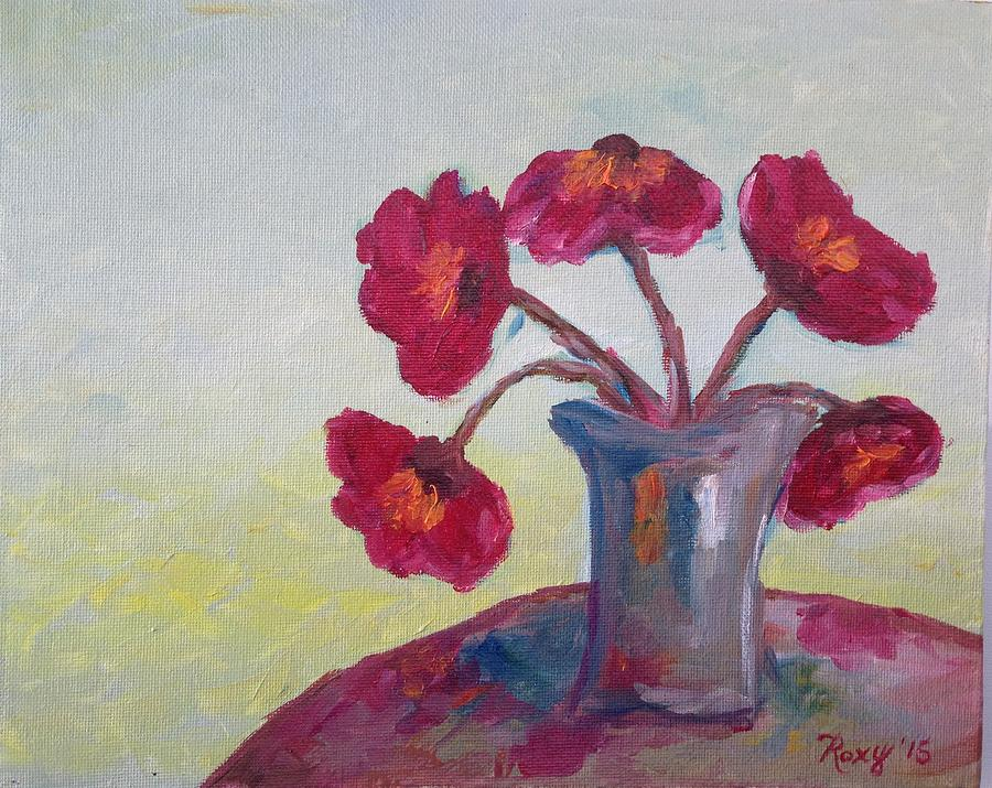 Poppies Painting - Poppies In A Vase by Roxy Rich