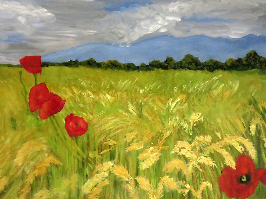 Wheat Painting - Poppies In A Wheat Field by Vivian Stearns-Kohler
