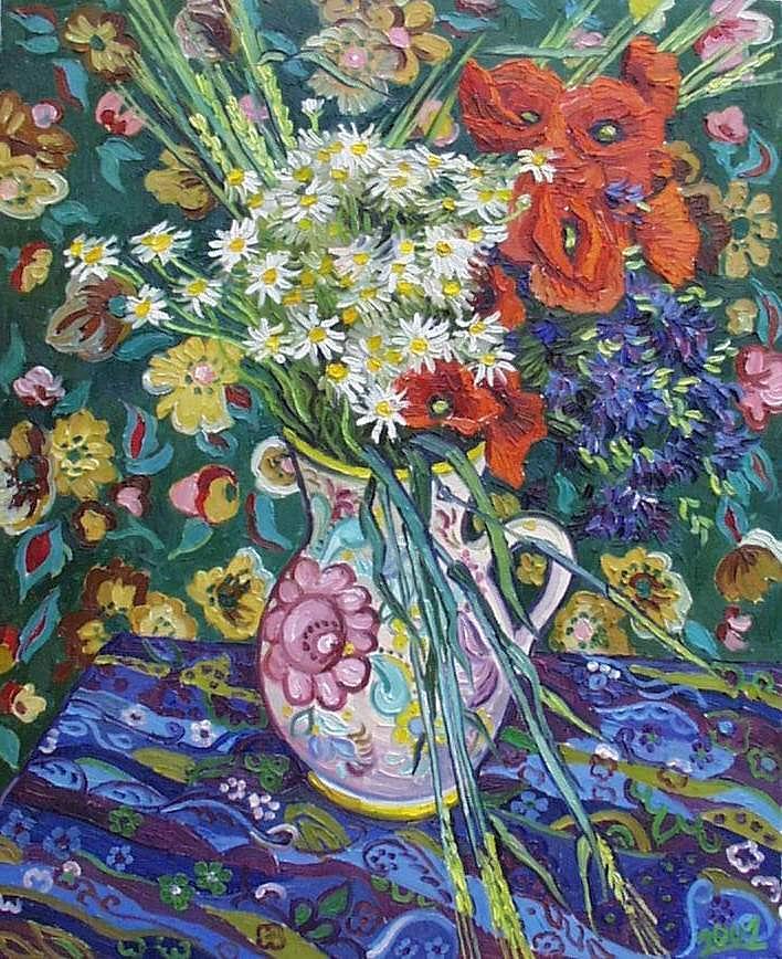 Still Life Painting - Poppies In Clay Jug by Vitali Komarov