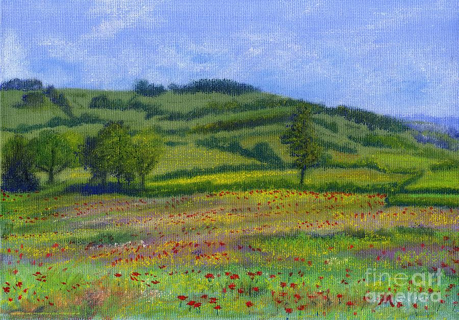 Red Poppies Pastel - Red Poppies In Cribyn Fields by Edward McNaught-Davis