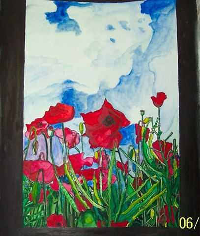 Poppies Painting - Poppies In Field by Lori Tan