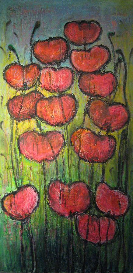 Poppies Painting - Poppies In Oil by Laurie Maves ART