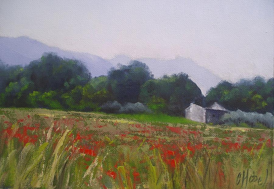 Greeting Cards Painting - Poppies In Tuscany by Chris Hobel