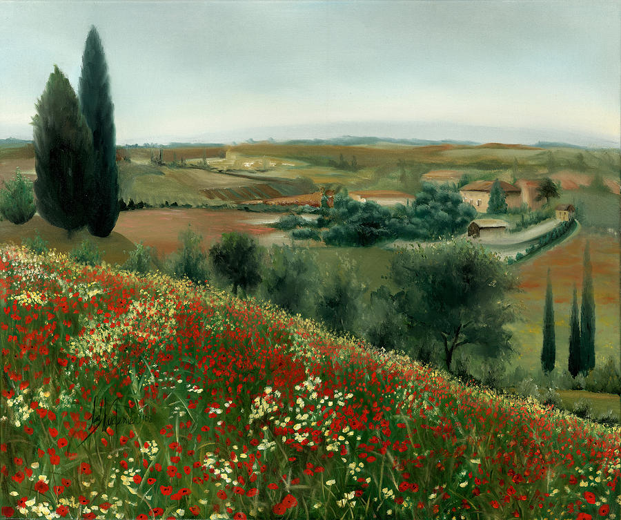 Poppies Painting - Poppies In Tuscany by Leah Wiedemer