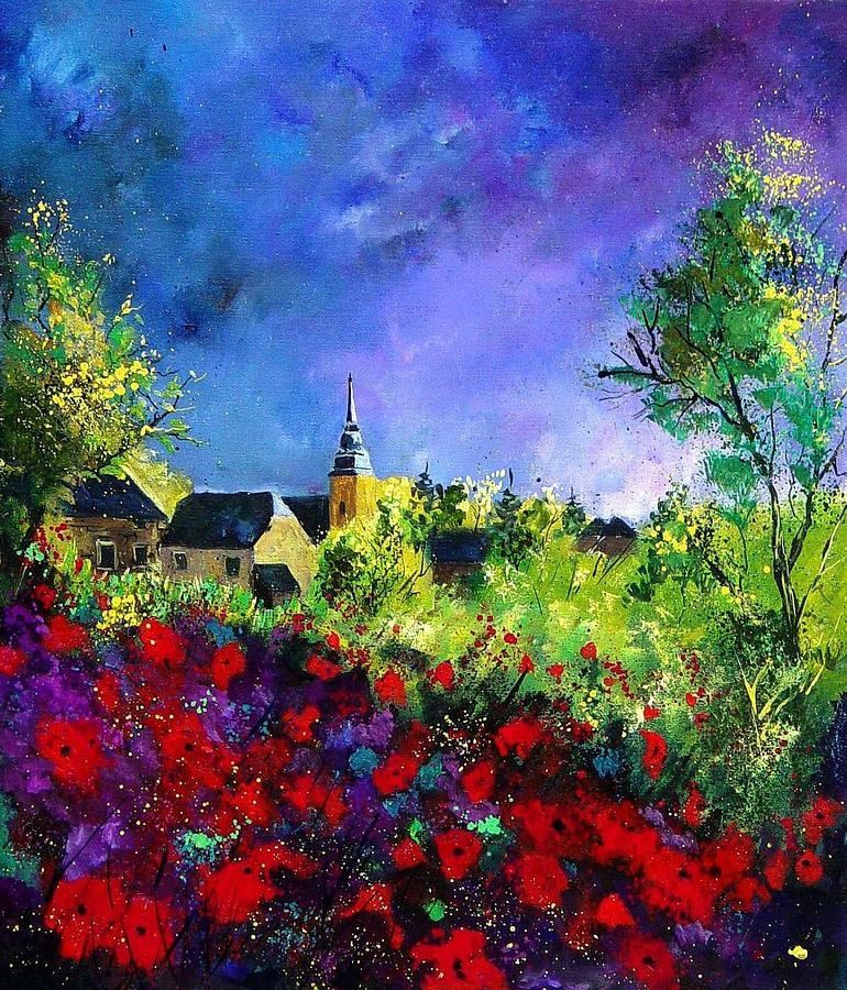 Flowers Painting - Poppies In Villers by Pol Ledent