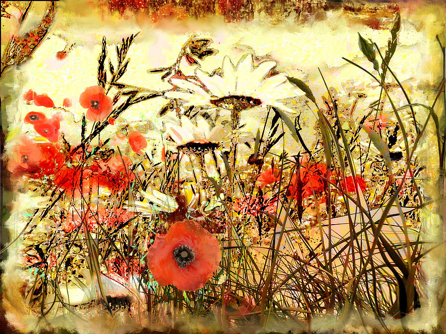 Papaver Painting - Poppies In Waving Corn by Anne Weirich