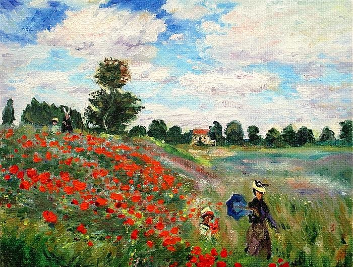 Poppy Painting - Poppies Near Argenteuil by Peter Kupcik