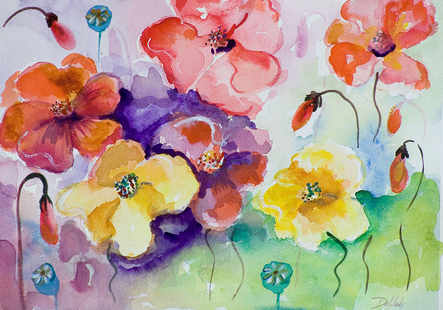 Poppy Painting - Poppies Of Color by Delilah  Smith