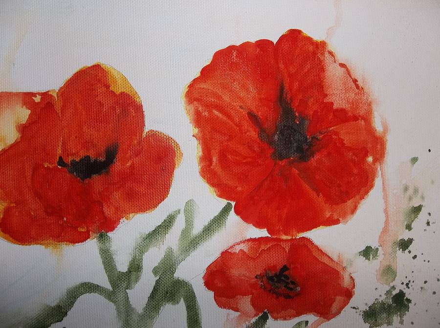 Poppies on Linen by Audrey Bunchkowski
