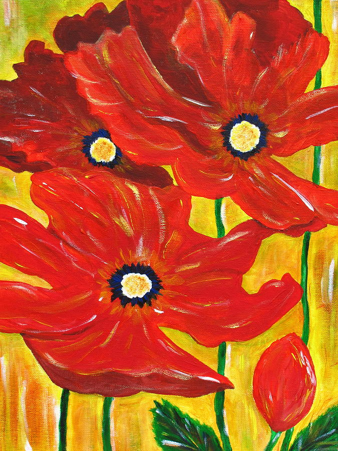 Poppies Photograph - Poppies Painting  by Linda Larson