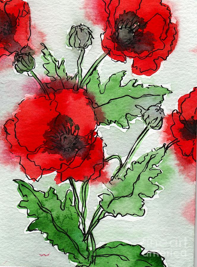 Watercolor Poppies by Amy Stielstra