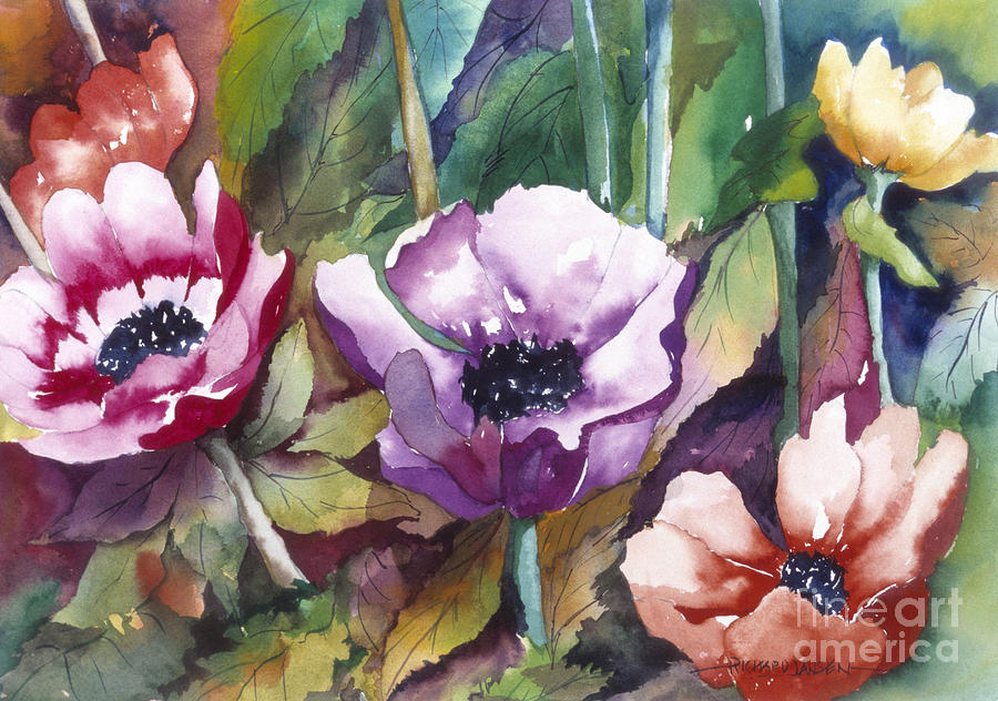 Watercolor Painting - Poppies by Richard Jansen