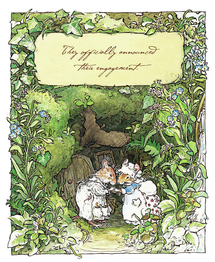 Brambly Hedge Drawing - Poppy And Dusty Get Engaged by Brambly Hedge
