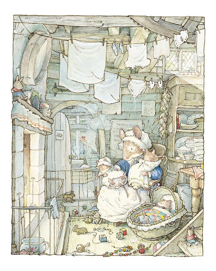 Brambly Hedge Drawing - Poppy and her babies sit by the fire by Brambly Hedge
