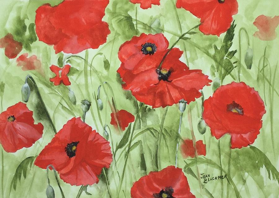 Red Painting - Poppy Field 1 by Jean Blackmer