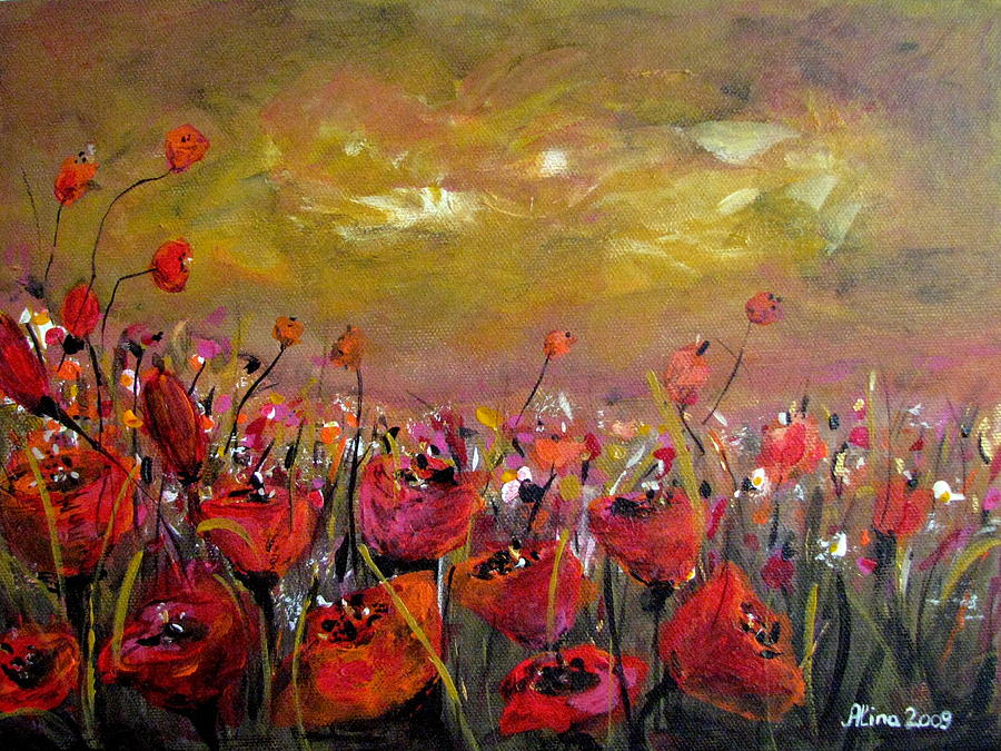 Poppy Painting - Poppy Field by Alina Vidulescu