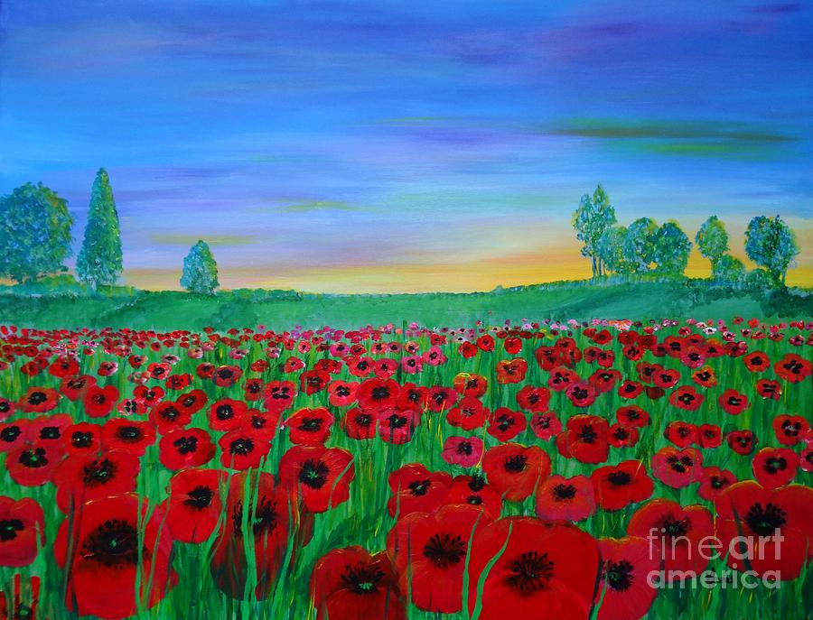 Poppy Field at Sunset by Karen Jane Jones