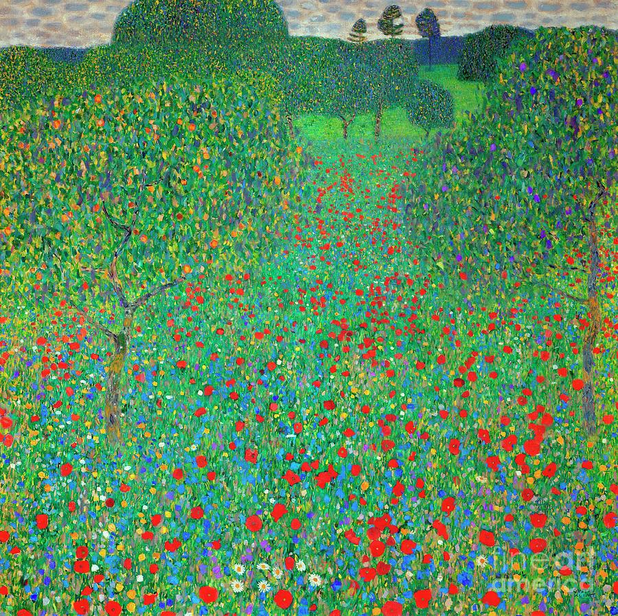 Klimt Painting - Poppy Field by Gustav Klimt