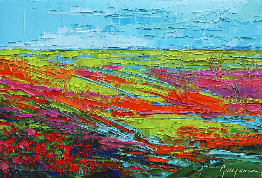 Poppy Field Modern Abstract Impressionistic Oil Painting ...