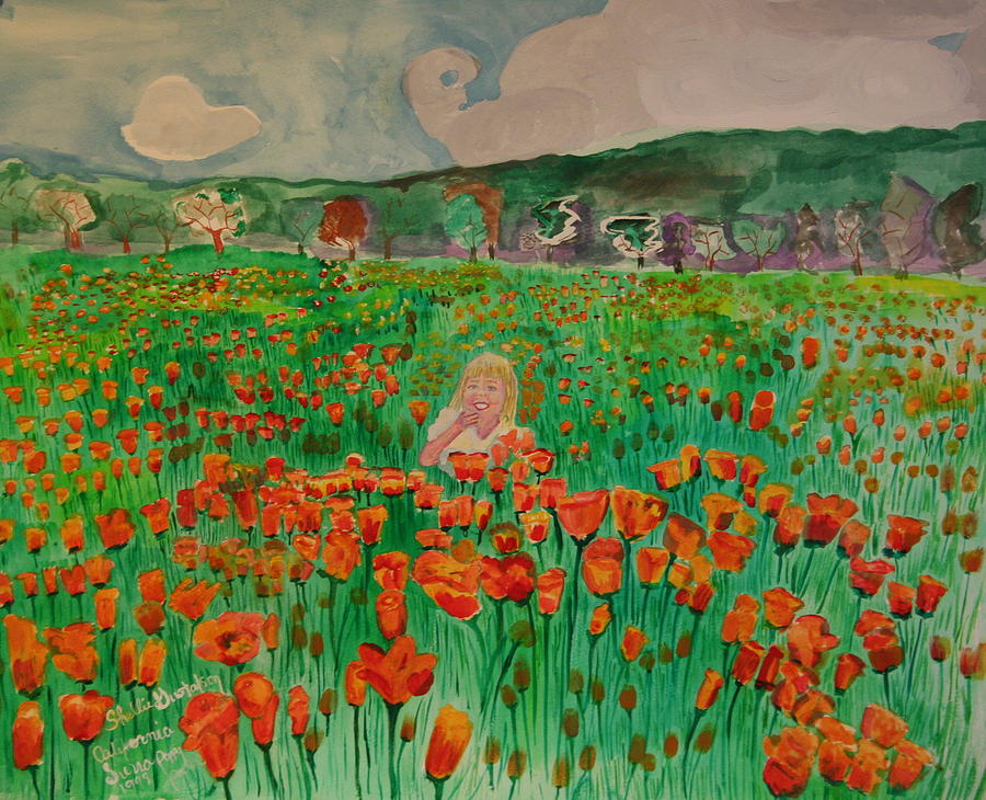 Poppy Field Painting by Shellie Gustafson