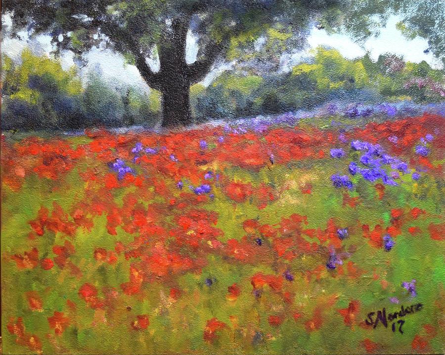 Poppy Field w Tree by Sandra Nardone