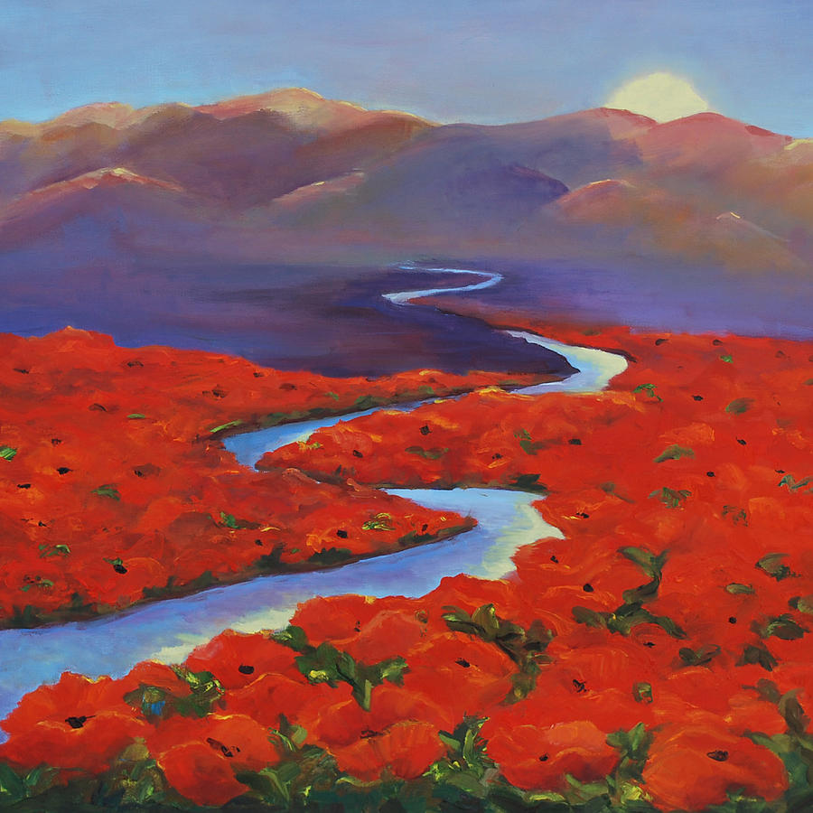 Floral Landscape Painting - Poppy Fields 2 by Marcy Silverstein