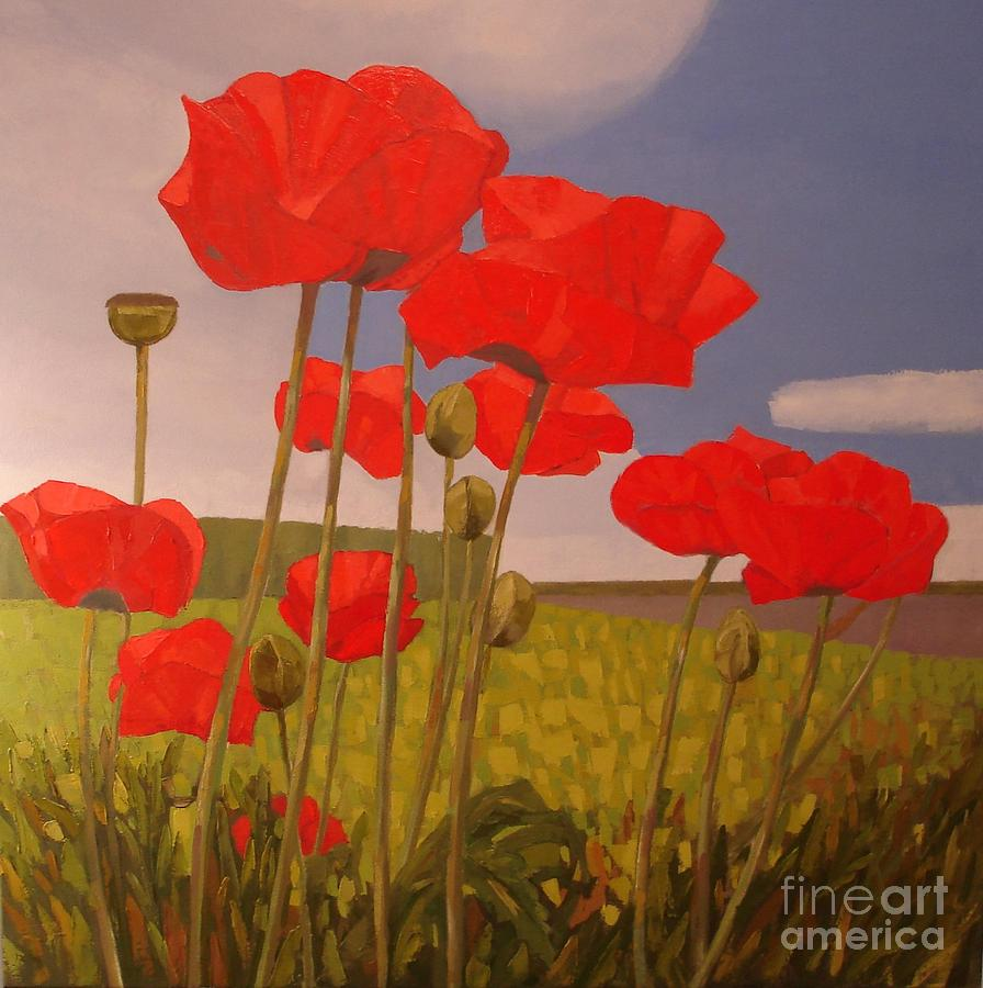 Blue Sky Painting - Poppy Flowers by Ludmila Kalinina